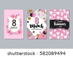 set of 8 march cards. happy... | Shutterstock .eps vector #582089494
