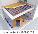 radiant underfloor heating ...   Shutterstock . vector #582091894