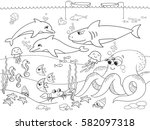 seabed with marine animals.... | Shutterstock .eps vector #582097318