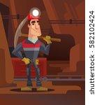 miner character in coal mine.... | Shutterstock .eps vector #582102424