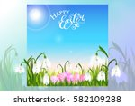 happy easter card with eggs ... | Shutterstock .eps vector #582109288