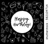 happy birthday greeting card.... | Shutterstock .eps vector #582109714