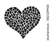 black vector mosaic heart.... | Shutterstock .eps vector #582109900
