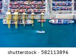 container ship in export and... | Shutterstock . vector #582113896