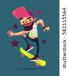 skater boy character riding... | Shutterstock .eps vector #582115564