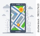 phone with mobile gps... | Shutterstock .eps vector #582117613