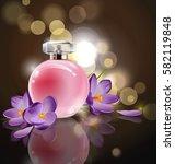 pink bottle women's perfume...   Shutterstock .eps vector #582119848