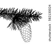 hand drawing pine cone on the... | Shutterstock . vector #582130024