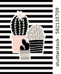 hand drawn succulent plants in... | Shutterstock .eps vector #582135709