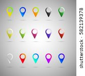 colorful map pointer icon set....