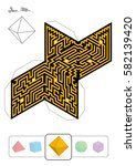 octahedron maze   template of... | Shutterstock .eps vector #582139420