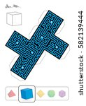 hexahedron maze   template of... | Shutterstock .eps vector #582139444