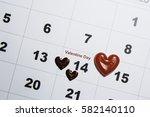 valentines day  love calendar. | Shutterstock . vector #582140110