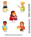 children with down syndrome... | Shutterstock .eps vector #582140359