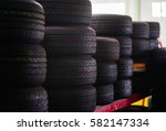 car tires at warehouse. | Shutterstock . vector #582147334