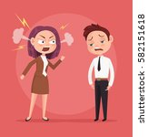 woman boss character yells at... | Shutterstock .eps vector #582151618
