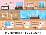 spa center inetrior set.... | Shutterstock .eps vector #582163144