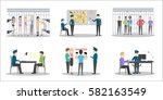 police station set on white... | Shutterstock .eps vector #582163549