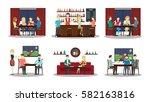 bar illustartions set on white... | Shutterstock .eps vector #582163816