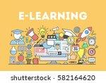 e learning concept illustration.... | Shutterstock .eps vector #582164620