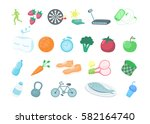 healthy lifestyle icons set on