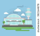 isolated airport building....   Shutterstock .eps vector #582164878