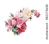 Stock photo bouquet of roses watercolor can be used as greeting card invitation card for wedding birthday 582173638