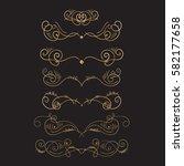 golden flourish embellishments. ... | Shutterstock .eps vector #582177658