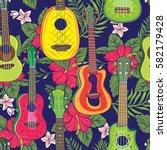 pop colorful hawaiian fruity...   Shutterstock .eps vector #582179428