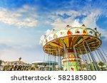 carousel. horses on a carnival...   Shutterstock . vector #582185800
