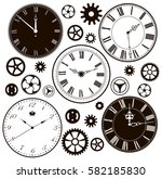 Set Of Vintage Clock Faces And...