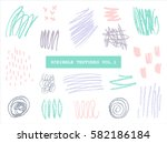 a set of hand drawn scribble... | Shutterstock .eps vector #582186184