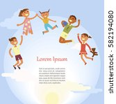 happy children are jumping on... | Shutterstock .eps vector #582194080
