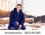 handsome  stylish and young man ... | Shutterstock . vector #582196180