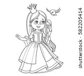 cute princess with long hair... | Shutterstock .eps vector #582205414