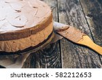 delicious chocolate mousse cake ... | Shutterstock . vector #582212653