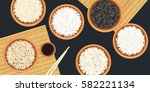 different types of rice in... | Shutterstock .eps vector #582221134