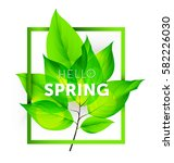 hello spring on with fresh... | Shutterstock .eps vector #582226030