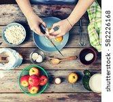 cooking food. woman cook breaks ... | Shutterstock . vector #582226168