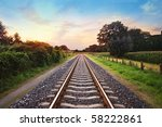 Railway Tracks In A Rural Scene ...