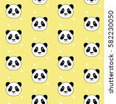 cute panda head on white dots...   Shutterstock .eps vector #582230050