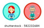 set of two hipster style... | Shutterstock .eps vector #582232684