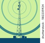 telecommunication tower with... | Shutterstock .eps vector #582235924