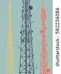 telecommunication tower with... | Shutterstock .eps vector #582236086