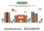 modern street scenery in flat... | Shutterstock .eps vector #582248440