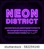 bright neon alphabet letters ... | Shutterstock .eps vector #582254140