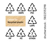 labels for recycling plastic... | Shutterstock .eps vector #582255298