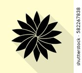 flower sign. black icon with...