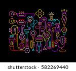 neon colors on a black... | Shutterstock .eps vector #582269440