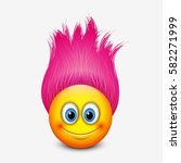 Cute Emoticon With Pink Hair  ...
